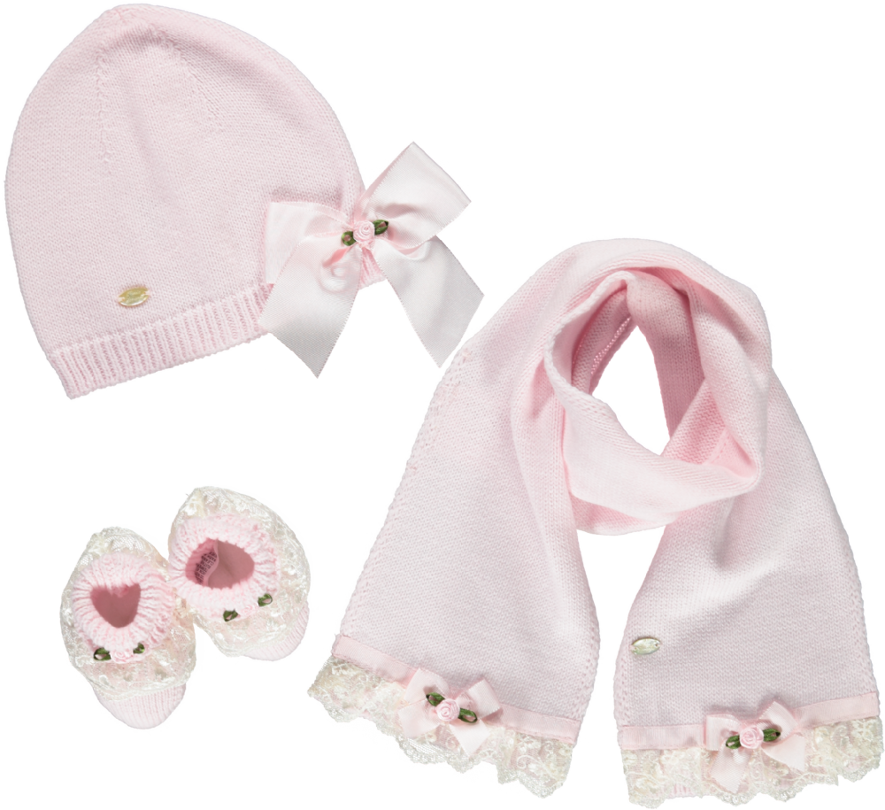 Piccola Speranza Baby Pink Rose Baby Gift Set